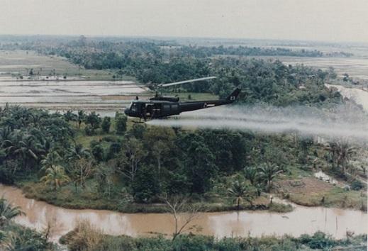 الجيش الأميركي يرش بالهليكوبتر العامل البرتقالي فوق الأراضي الزراعية الفيتنامية أثناء حرب فيتنام.